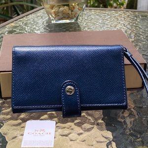 Coach Metallic Blue Snap Wallet